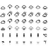 Weather Icons in White Background. Zip includes 300 dpi JPG, Illustrator CS, EPS10. Vector with  transparency Stock Images