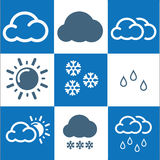 Weather Icons with White and blue Background Royalty Free Stock Photography