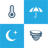 Weather Icons with White and blue Background Stock Photo