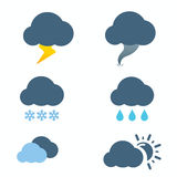 Weather Icons with White and blue Background Stock Images