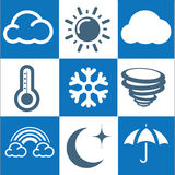 Weather Icons with White and blue Background Royalty Free Stock Images