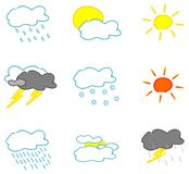 Weather icons on white - set 1 Stock Image