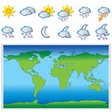 Weather icons and world map Royalty Free Stock Photos