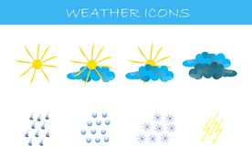 Weather icons. Yellow sun and lightning, blue and dark blue clouds, raindrops, snowflakes, wavy shadow Royalty Free Stock Images