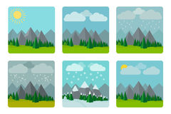Weather illustrations in flat style vector Royalty Free Stock Photos