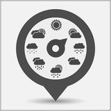 Weather Indicator. Map marker with weather indicator Royalty Free Stock Photo