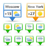 Weather Icons. Weather indicators and icons on white background Stock Photo