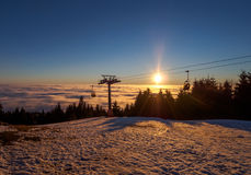 Sunset over the clouds Royalty Free Stock Images