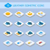 Weather isometric icons. Weather forecast isometric icons buttons set for climate and temperature report vector illustration Royalty Free Stock Photo
