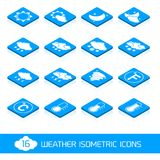 Weather isometric icons white and blue Royalty Free Stock Images