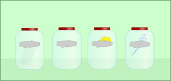 Weather in jars. Different clouds and sun symbols in jars on light green background Royalty Free Illustration