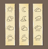 Weather line drawing icons Stock Photography