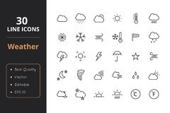 30 Weather Line Icons. High quality weather line icons. Icons for user interfaces and web Stock Photos