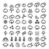 Weather line icons set - big pack of 70 weather forecast graphic elements, sun, cloud, rain, snow, wind, rainbow Royalty Free Stock Images
