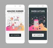 Weather line illustration splash app screen mobile mockup. Weather and seasonal conceptual line banner and splash screen illustration for mobile apps. Spring vector illustration