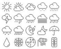 Weather line pixel icons set. Line pixel icons set: Weather stock illustration