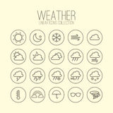 Weather Linear Icons Royalty Free Stock Photo