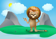 Weather lion pointing cloud Stock Photos