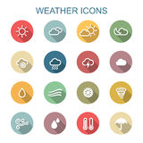 Weather long shadow icons Royalty Free Stock Photography