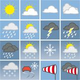Weather map. With weather symbols Stock Photography