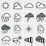 Weather map. With weather symbols Stock Photos