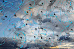 Weather map Europe. Weather map of Europe with high pressure and low pressure centers Stock Image