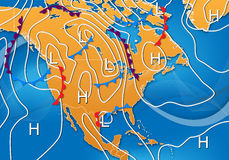 Weather Map of North America. Weather Map Design of North America Royalty Free Stock Image