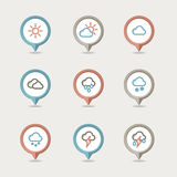 Weather mapping pins icon Royalty Free Stock Images