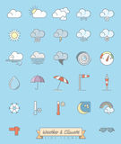 Weather and meteorology filled line icons set Royalty Free Stock Images