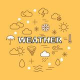 Weather minimal outline icons Royalty Free Stock Images
