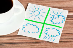 Weather on a napkin Stock Photos