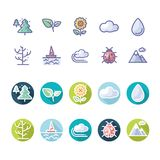 Weather Nature icon with long shadow in vector format. Ideal for web, leaflet etc Stock Photos