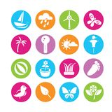 Weather and nature icons. Set of 16 nature icons in colorful buttons royalty free illustration