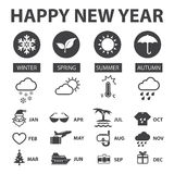 Weather and New year icons set Royalty Free Stock Photo