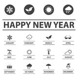 Weather and New year icons set Royalty Free Stock Photos