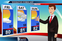 Weather news reporter. A vector illustration of TV weather news reporter at work Stock Images