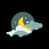 Weather night icon vector. Royalty Free Stock Photo