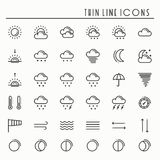 Weather pack line icons set. Meteorology. Weather forecast trendy design elements. Template for mobile app, web and Stock Photos