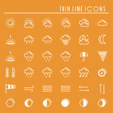Weather pack line icons set. Meteorology. Weather forecast trendy design elements. Template for mobile app, web and Royalty Free Stock Photo