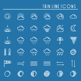 Weather pack line icons set. Meteorology. Weather forecast trendy design elements. Template for mobile app, web and Stock Photography