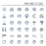 Weather pack line icons set. Meteorology. Weather forecast trendy design elements. Template for mobile app, web and Stock Image