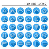 Weather pack line icons set. Meteorology. Weather forecast trendy design elements. Template for mobile app, web and Royalty Free Stock Images