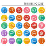Weather pack line icons set. Meteorology. Weather forecast trendy design elements. Template for mobile app, web  Stock Photos