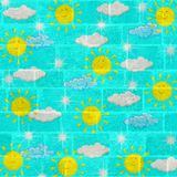 Weather painted on children badroom ceiling Royalty Free Stock Images