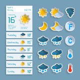 Weather Paper Widgets Set Royalty Free Stock Images
