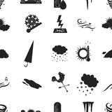 Weather pattern icons in black style. Big collection of weather vector symbol stock illustration Stock Photography