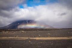 Weather phenomenon. Unusual rainbow)like phenomenon on the flanks of the the Herdibreid volcano in Iceland stock photography