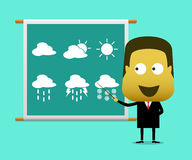 Weather prediction forecast male news report Stock Photo