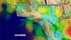 Weather Radar Digital Satellite Map (S. California) stock footage