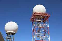 Free Weather Radar Towers Meteorological Station On Blue Sky Stock Photo - 188145230